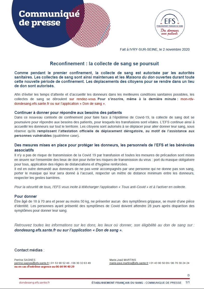 Reconfinement, les collectes de sang maintenues - CP 02.11.2020